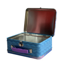 Recyclable Rectangle Handle Shaped Tin Box Feature Customized Factory