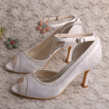 Amazon Ivory Peep Toe Shoes Novia Bombas con correa para el tobillo