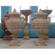 Florero de mármol de piedra para la decoración del jardín (QFP268)
