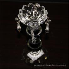 Meilleure vente durable en utilisant des bougeoirs transparents en verre de cristal de mariage rond