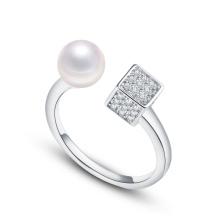 Zircon carré en argent sterling et anneau de nouilles en perle de culture