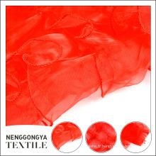 Nouveau tissu brodé en mousseline de soie rouge en gros à la mode