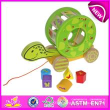 Das Schildkröte-Block-Wagen-Spielzeug für Kinder, reizendes hölzernes Spielzeug gehen Wagen-Spielzeug für Kinder, nettes Zug-und Stoß-Spielzeug für Baby W05b071