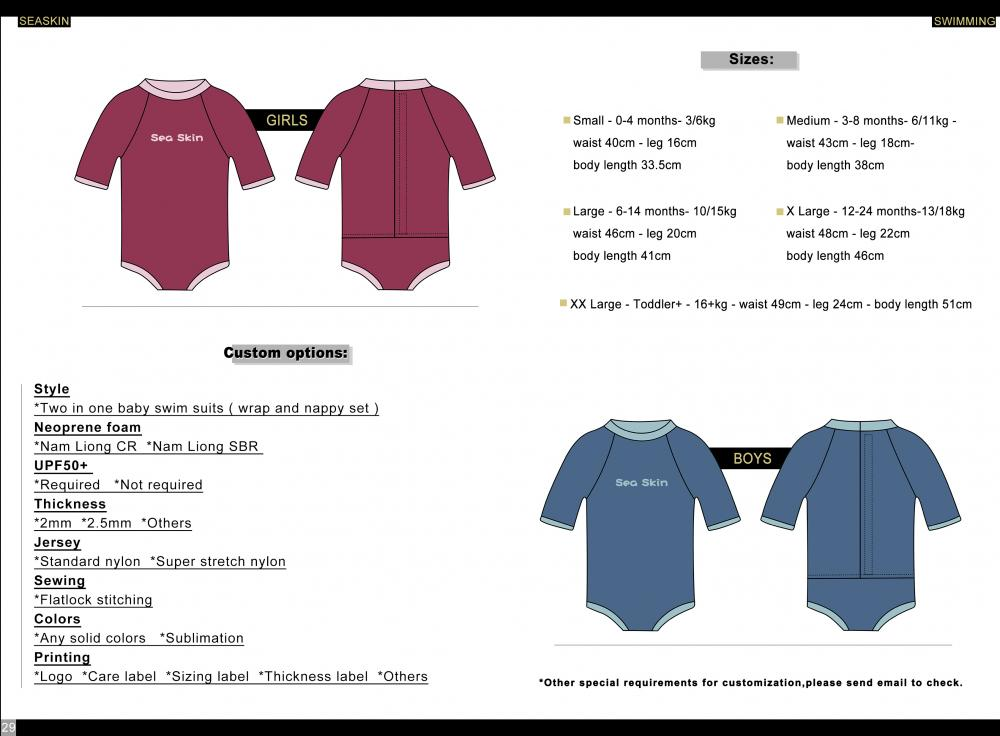 Seaskin Baby All In One Swim Wetsuit Size Chart