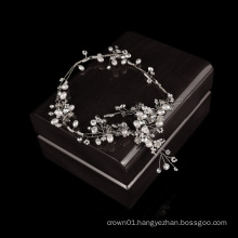 New design Handmade Golden Pearl Crystal  Wedding bridal hair bands wedding hair vine
