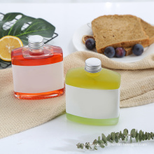 New Square Drink Glass Bottle, Transparent Square Glass Bottle with Lid
