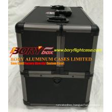 Black Aluminum Makeup Train Case W/ Dividers