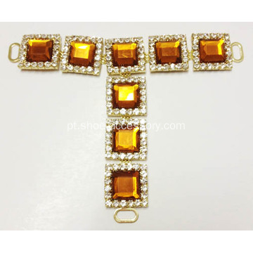 Classical Mulheres Hot-Sell Diamante Trim T-Strap, Square Diamante Enfeite