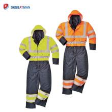 Classe 3 imperméable à l'eau Salut Vis Combinaison de sécurité, doublé Matelassé Diverses couleurs de vêtements de travail avec des bandes réfléchissantes Hiver