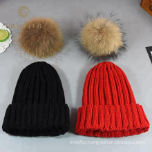 Mom and baby matching knitted large real raccoon fur pom pom winter hat kid child beanie