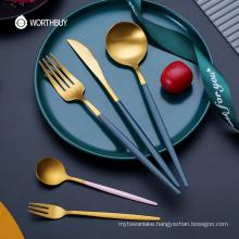 24 Pcs Western Gold Cutlery Set Stainless Steel Tableware Flatware Set Kitchen Knife Fork Spoon Dinnerware Silverware
