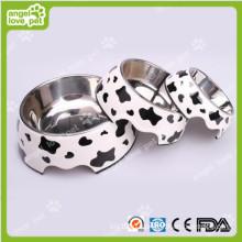 Классический корова Pattern Меламин и нержавеющей стали Pet Собака Чаша