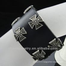 Wholesale Cross Charm bracelet en cuir véritable bijoux Christian BGL-008