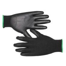 13 Gauge Black Nylon Liner Knit Wrist Black PU Coated Gloves Ce 3141