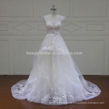 XF16042 el último vestido diseña el surtidor iluminado del vestido de boda de la tapa del cordón