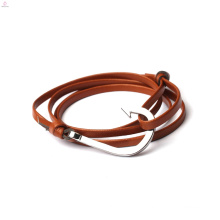 Double Layer Wrap PU Leather Anchor Hook Bracelet