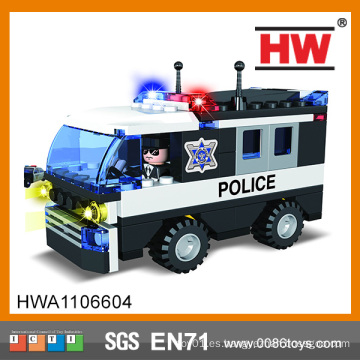 Bloques huecos creativos vendedores calientes coche de policía plástico del bloque de edificio 104pcs