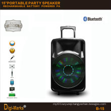 15′′ Multimedia Party DJ Wireless Karaoke Trolley Bluetooth Active Speaker
