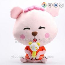 Cute pink lifelike plush big eyes cat toys
