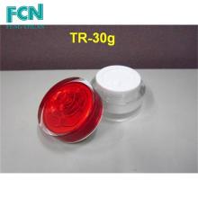 Высокое качество круглый красный уход за кожей акриловая бутылка небольшой 1унц косметический Cream опарник