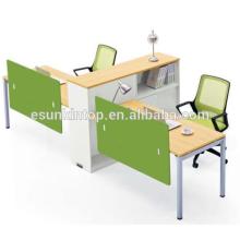 Estação de trabalho em forma de Office T para duas pessoas de madeira de pessegueiro e estofados brancos quentes, Fábrica de móveis de escritório profissional (JO-4048-2)