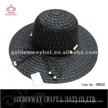 Lady Fashion Hat GW052 noir en papier chapeaux de soleil en bordure de plage 2014