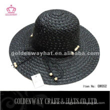Lady Fashion Hat GW052 black paper beach sun hats 2014