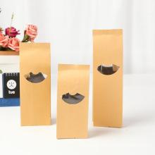 Fan-shaped Window Aluminized Side Gusset Bag Food Tea Flour Packaging Bag Custom Kraft Paper Food Package Customized Logo Accept