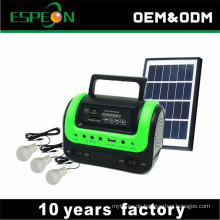 Heißer verkauf 5 watt 9 v hause solar beleuchtung system mit 3 lampen radio mp3 USB für outdoor