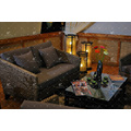Trendy Design Indoor Water Hyacinth Sofa Set with Acacia Wooden Frame and Natural Wicker