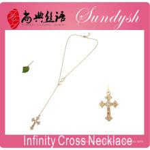 Infinity Jewelry Golden Cross Collier Sideways Fashion Infinity collier