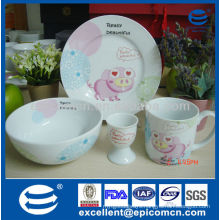 lovely pink pig design 4pcs ceramic tableware for breakfast use with plate bowl mug and egg holder