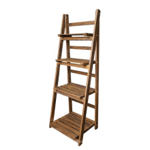 Customized folding solid Wood flower plant storage stand rack