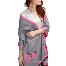 Newest design women autumn winter warm printed horse animal shawl scarf