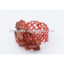 Piedra de piedra roja piedras estiradas semillas de vidrio de cuentas de anillo