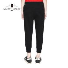 Calças Skinny Elastic Cintura Yoga Leggings Preto Sólido