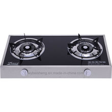 Double Burner Blue Fire Gas Stove, Stainless Sidecover and Glass Panel Board