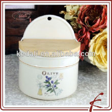 Frascos de cerámica para recogida de aceitunas con tapa