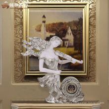 Ornate vintage home decorative accessories resin beauty musician statue table clock