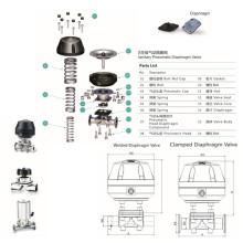 Válvula de diafragma neumático de acero Stainlss de acero (RG)