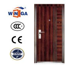 Color marrón Serbia Croacia Winga estilo de acero de seguridad puerta (WS-128)