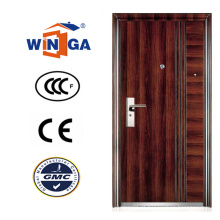 Brown Color Serbia Croácia Winga Style Security Steel Door (WS-128)