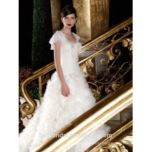 ZM16017 Prinecess Pattern Drape White Organza Ruffles Wedding Dress Real Picture Short Sleeve Plus Size Bridal Gowns