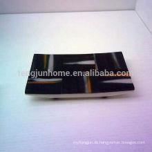 Kuhhorn schwarz Handtuch Tablett
