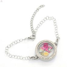 Оптовая цена 25mm нержавеющей стали серебряный кристалл винт с плавающей медальон браслет 2017 человек для продажи