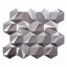 Soulscrafts Silver 3D Metal Tile Hexagon Mosaic for Bathroom