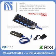 Hub USB 3.0 de 4 portas com interruptor liga / desliga + adaptador de alimentação CA para computador de secretária