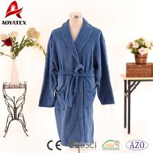 Ultra-weicher, fester blauer Fleecebademantel aus Fleece mit Gürtel für Männer