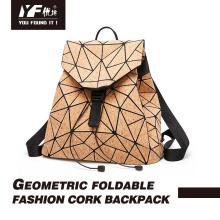 Saco de mochila de cortiça dobrável geométrica