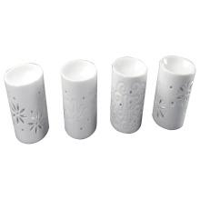 White Glazed Ceramic Cylindrical Incense Burner for Home Decoration